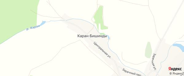 Карта деревни Карана-Бишинды в Башкортостане с улицами и номерами домов