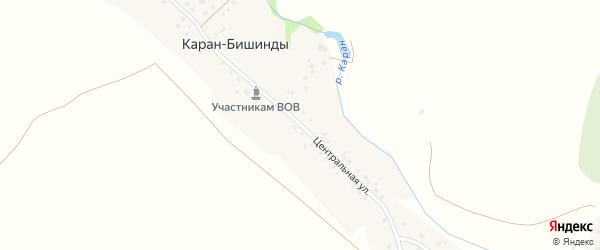 Центральная улица на карте деревни Карана-Бишинды с номерами домов