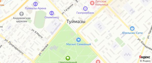 Загорский переулок на карте Туймаз с номерами домов
