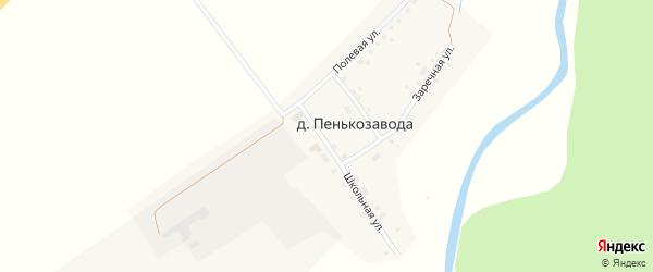 Центральная улица на карте деревни Пенькозавода с номерами домов