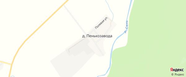 Карта деревни Пенькозавода в Башкортостане с улицами и номерами домов