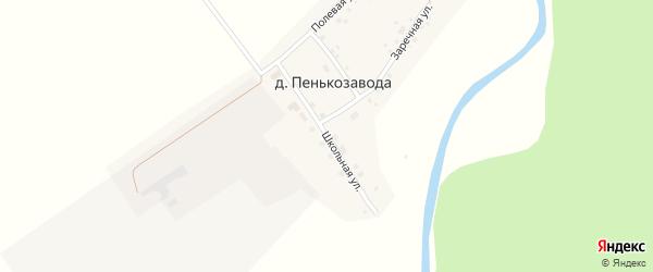 Школьная улица на карте деревни Пенькозавода с номерами домов