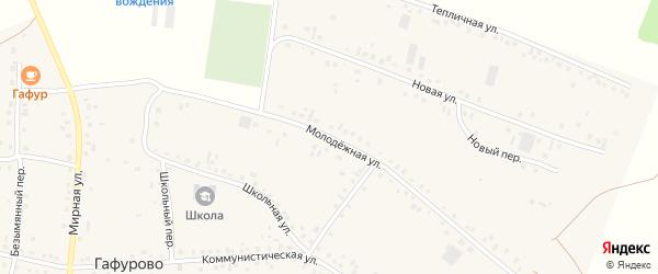 Молодежная улица на карте села Гафурово с номерами домов