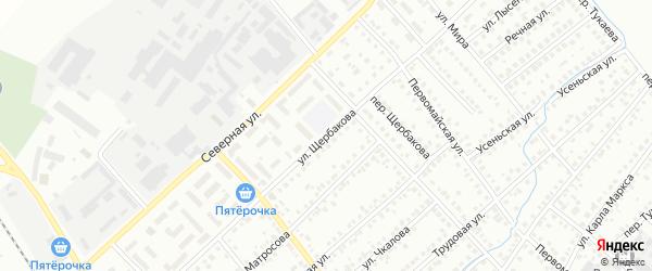 Улица Щербакова на карте Туймаз с номерами домов