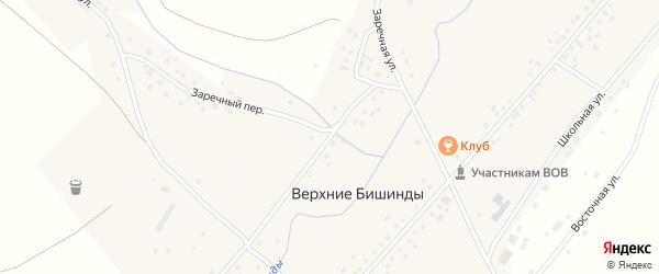 Заречная улица на карте села Верхние Бишинды с номерами домов