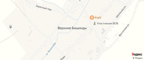 Заречный переулок на карте села Верхние Бишинды с номерами домов