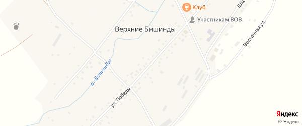 Улица Победы на карте села Верхние Бишинды с номерами домов