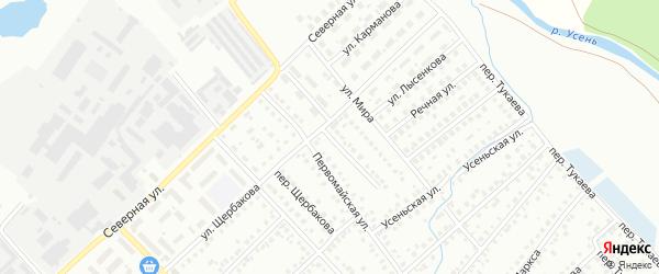 Первомайский переулок на карте Туймаз с номерами домов