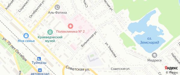 Больничная улица на карте Туймаз с номерами домов