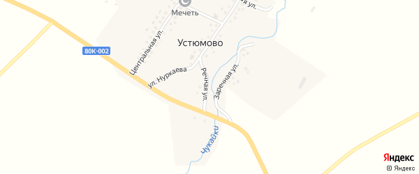 Речная улица на карте деревни Устюмово с номерами домов