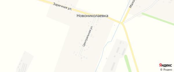 Центральная улица на карте деревни Новониколаевки с номерами домов