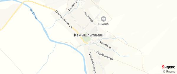 Карта села Камышлытамака в Башкортостане с улицами и номерами домов