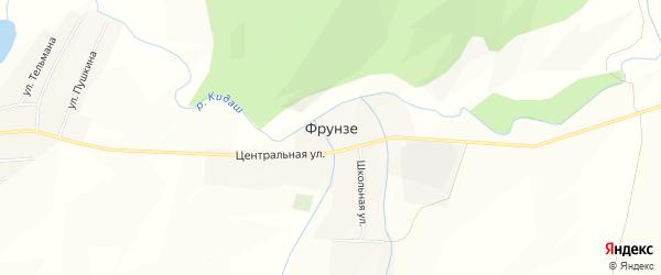 Карта деревни Фрунзе в Башкортостане с улицами и номерами домов