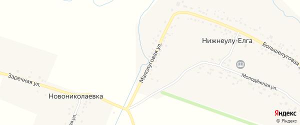 Малолуговая улица на карте села Нижнеулу-Елги с номерами домов