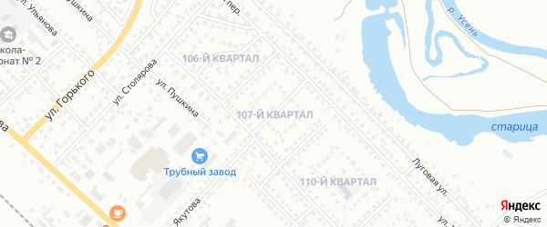 107-й квартал на карте Туймаз с номерами домов