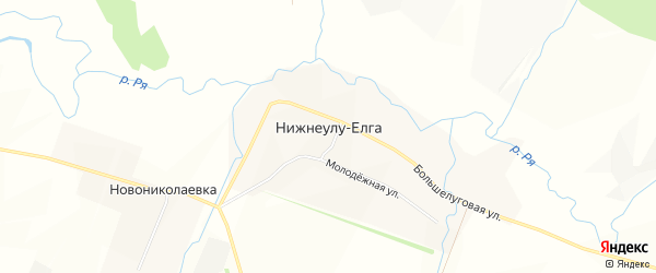 Карта села Нижнеулу-Елги в Башкортостане с улицами и номерами домов