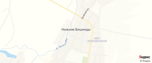 Карта села Нижние Бишинды в Башкортостане с улицами и номерами домов