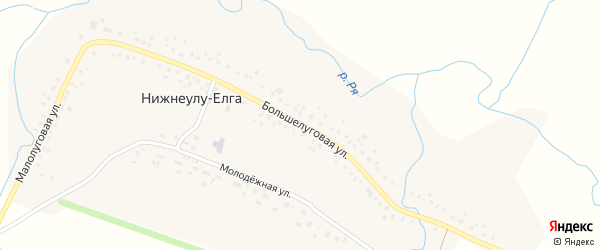 Большелуговая улица на карте села Нижнеулу-Елги с номерами домов