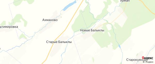 Карта Куштиряковского сельсовета республики Башкортостан с районами, улицами и номерами домов