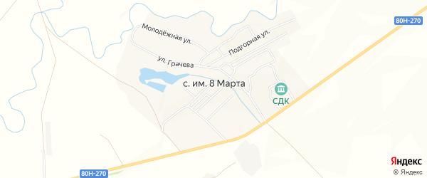 Карта села имени 8 Марты в Башкортостане с улицами и номерами домов