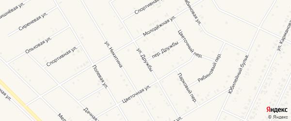 Переулок Дружбы на карте села Бакалы с номерами домов