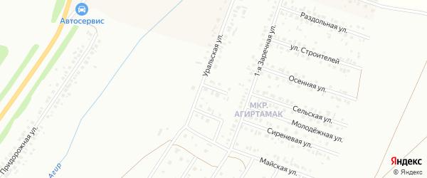 Уральский переулок на карте Туймаз с номерами домов