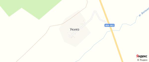 Лесная улица на карте деревни Укияза с номерами домов