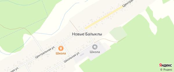 Школьный переулок на карте села Новые Балыклы с номерами домов