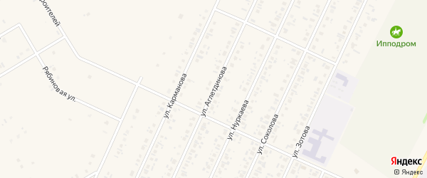 Улица Аглетдинова на карте села Бакалы с номерами домов