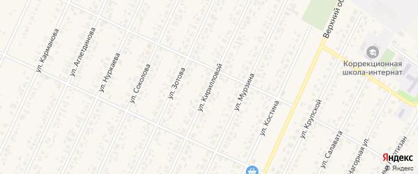 Улица Кирилловой на карте села Бакалы с номерами домов