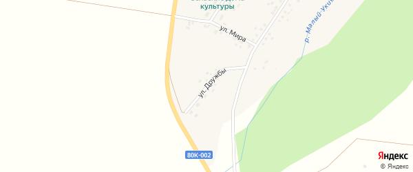Улица Дружбы на карте села Дюртюли с номерами домов