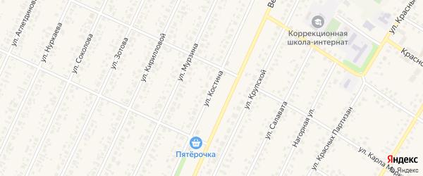 Улица Костина на карте села Бакалы с номерами домов