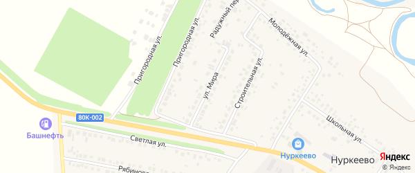 Улица Мира на карте деревни Нуркеево с номерами домов