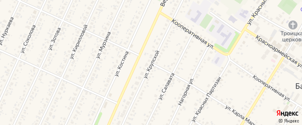 Улица Крупской на карте села Бакалы с номерами домов