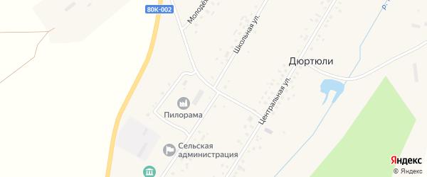 Школьная улица на карте села Дюртюли с номерами домов