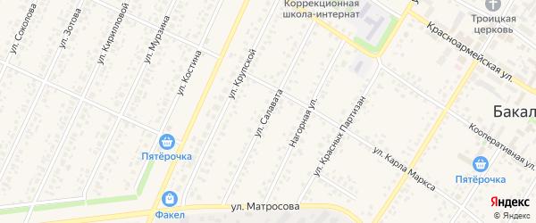 Улица Салавата на карте села Бакалы с номерами домов