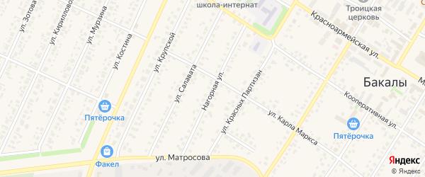 Нагорная улица на карте села Бакалы с номерами домов