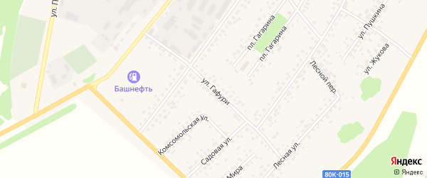 Улица Гафури на карте села Бакалы с номерами домов