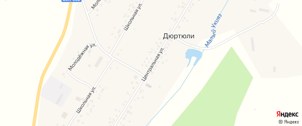 Центральная улица на карте села Дюртюли с номерами домов