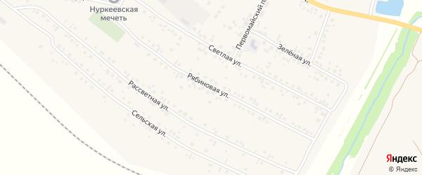 Рябиновая улица на карте деревни Нуркеево с номерами домов