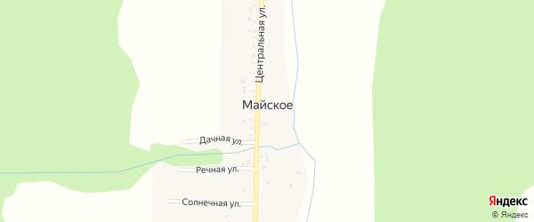 Центральная улица на карте деревни Майского с номерами домов