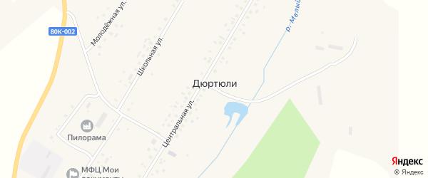 Луговая улица на карте села Дюртюли с номерами домов
