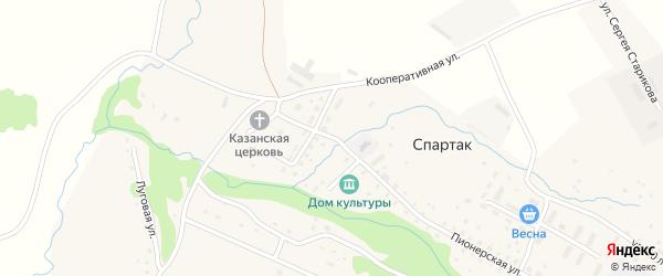 Кооперативная улица на карте села Спартака с номерами домов