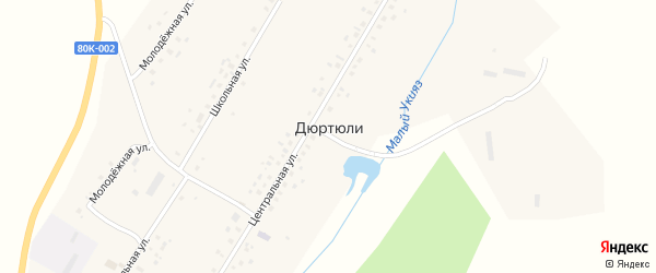 Молодежная улица на карте села Дюртюли с номерами домов