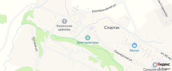 Клубная улица на карте села Спартака с номерами домов