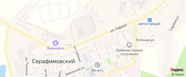 Улица Гафури на карте села Серафимовский с номерами домов