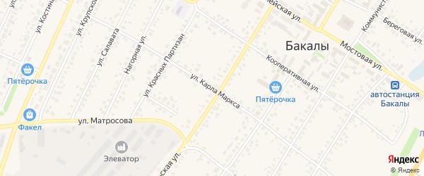 Улица К.Маркса на карте села Бакалы с номерами домов