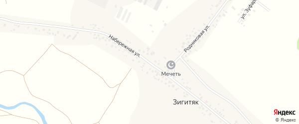 Набережная улица на карте села Зигитяка с номерами домов