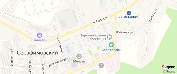 Комсомольская улица на карте села Серафимовский с номерами домов