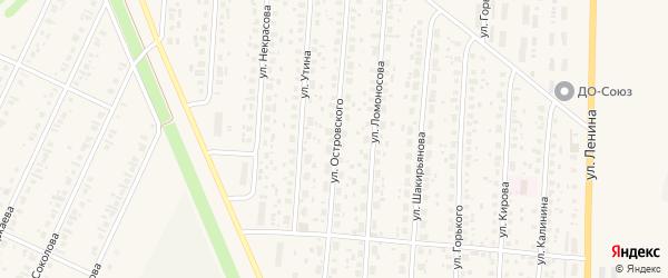 Улица Островского на карте села Бакалы с номерами домов